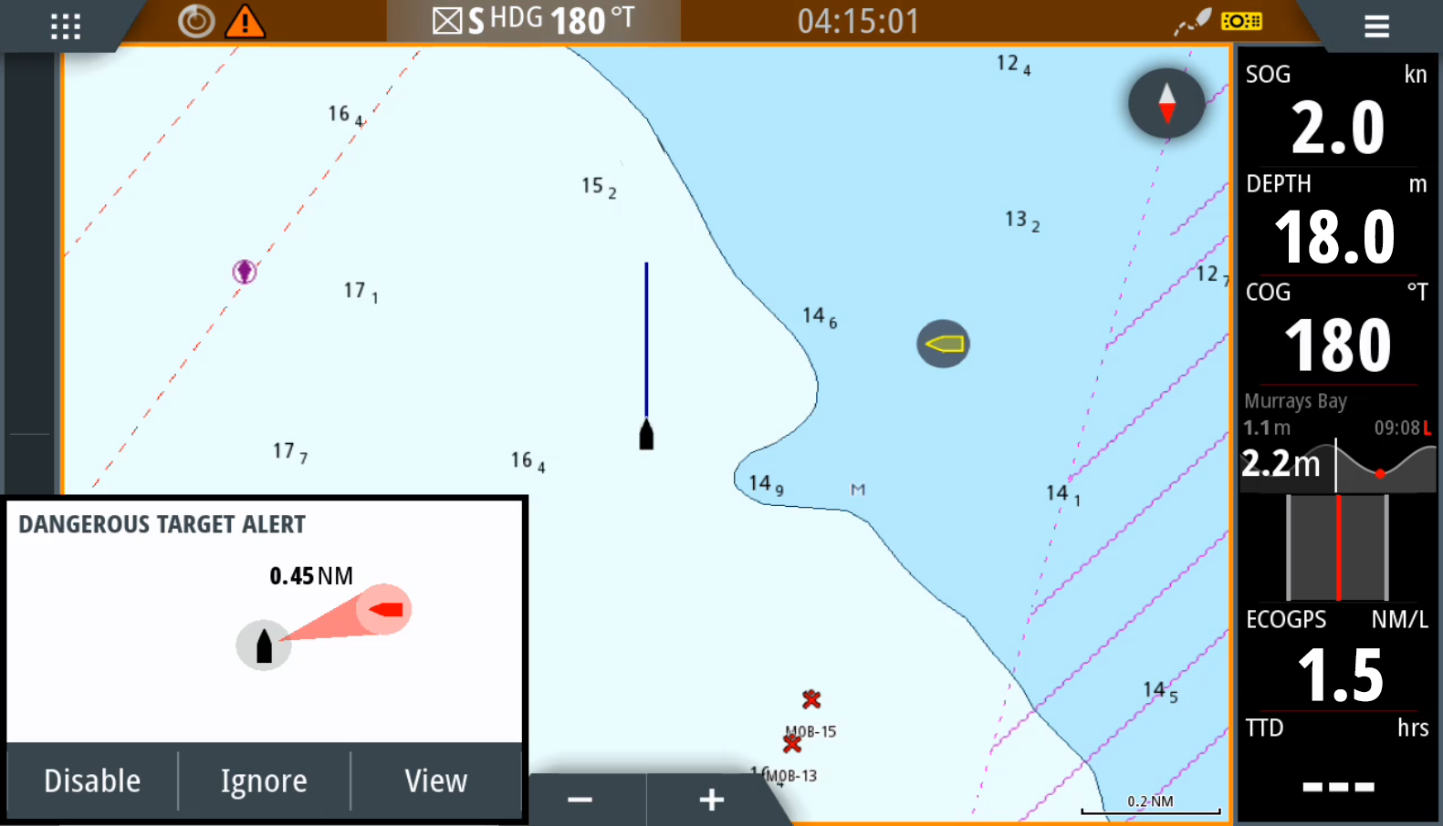 dangerous target alert feature onboard the latest Simrad system