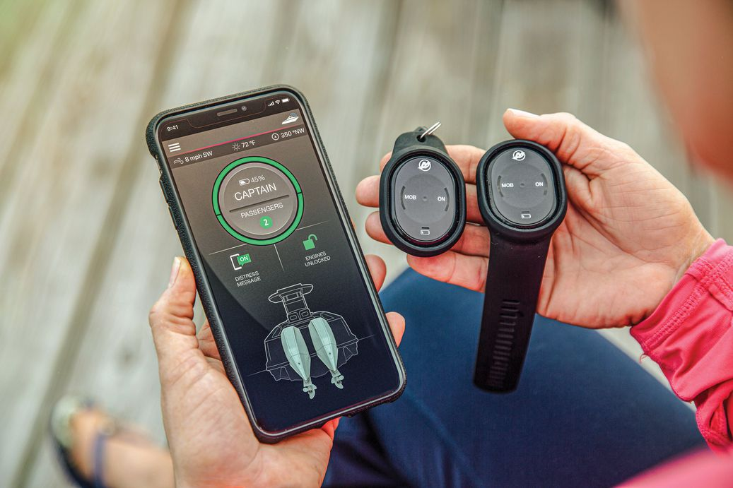 Mercury Marine First Mate app next to the product itself