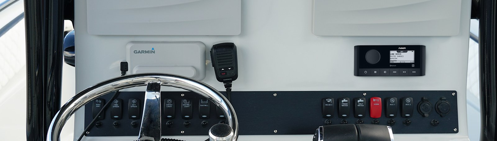 The Garmin Fusion MS RA60 installed onboard a vessel