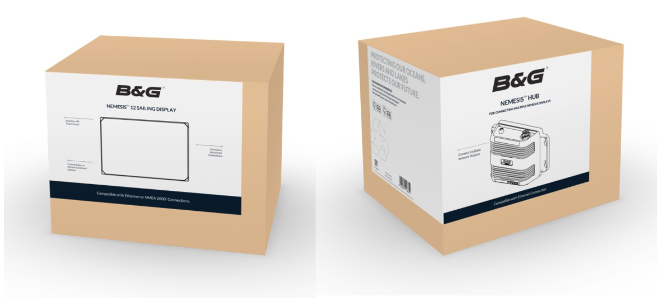 product shot for the new sustainable packaging lineup from Navico