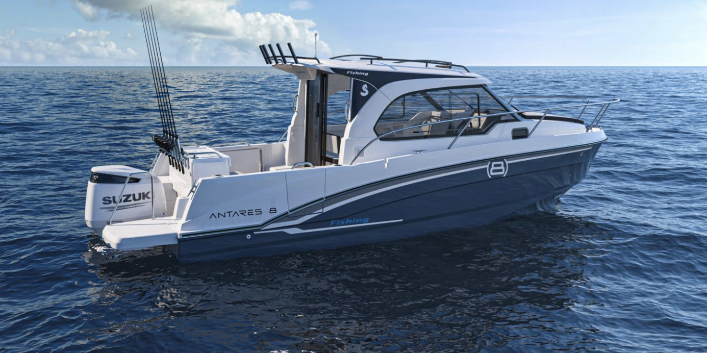 Beneteau Antares 8 render from side with fishing station