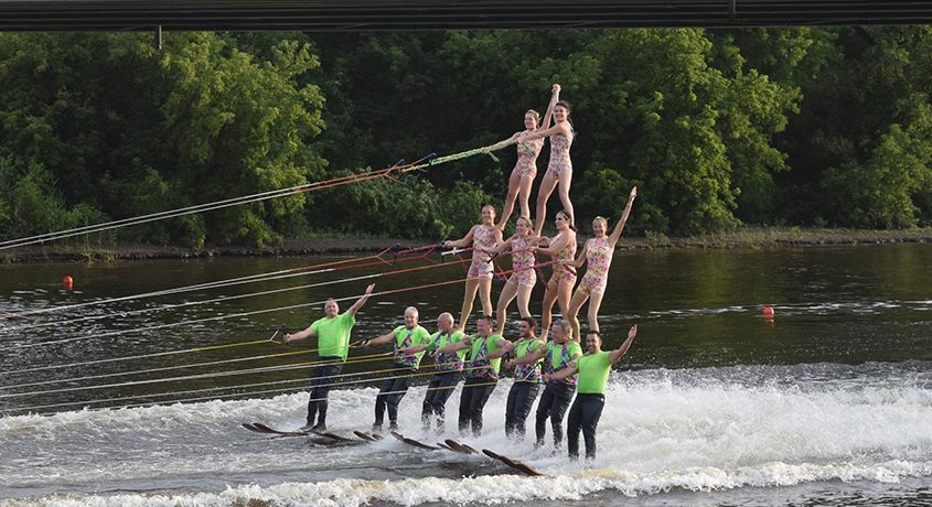 The U.S. Water Ski Show team performing in front of fans at Jumpin' Jacks Drive-In in Scotia on a recent Tuesday evening.