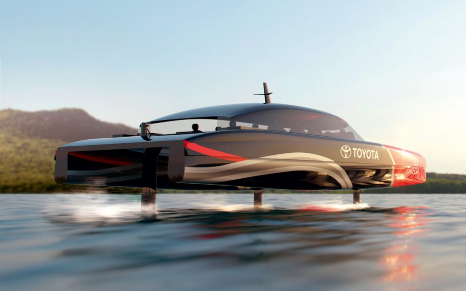This computer rendering shows what Emirates Team New Zealand's hydrogen powered foiling chase boats might look like.