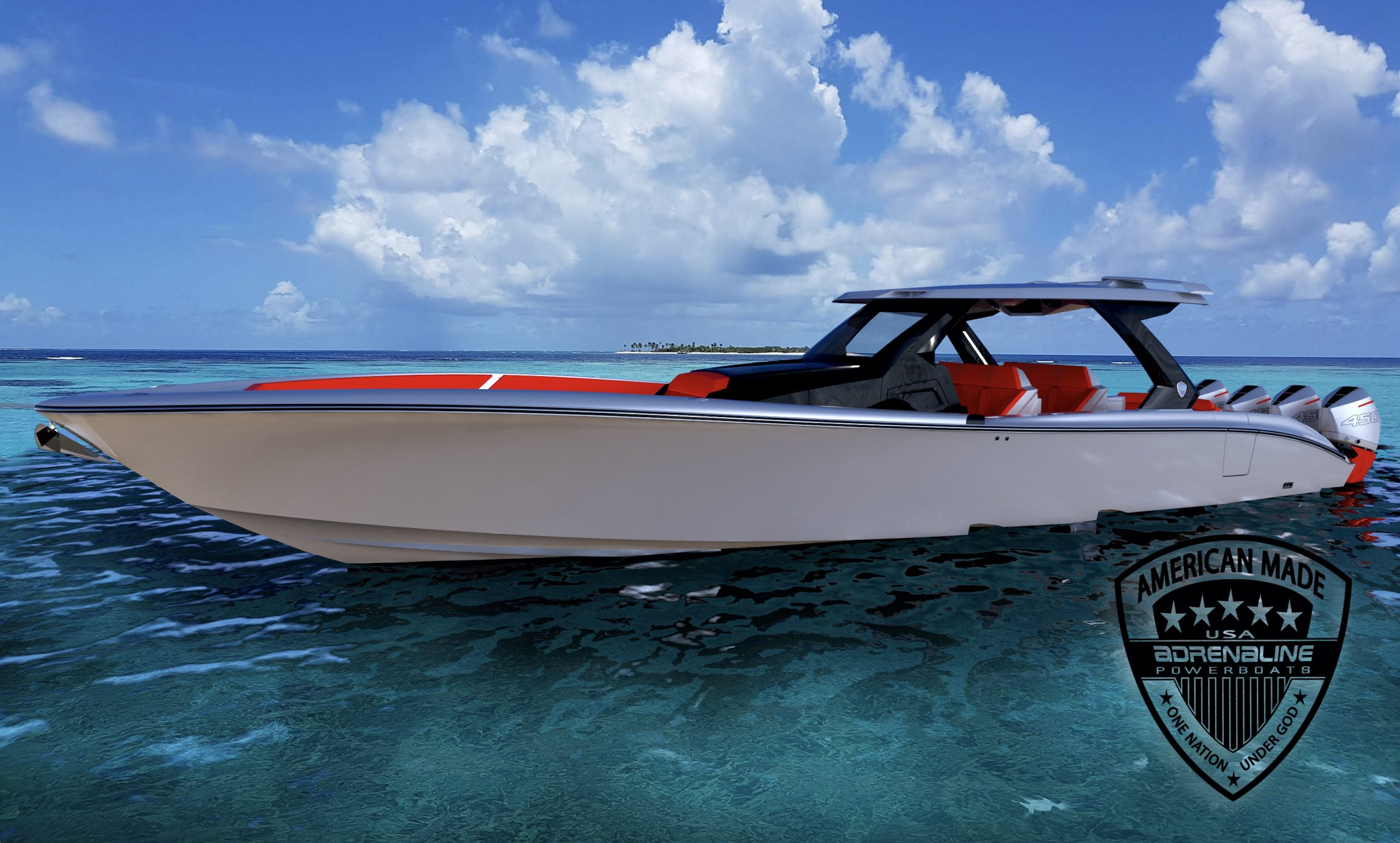 Renders for the Adrenaline Powerboats 47' CC