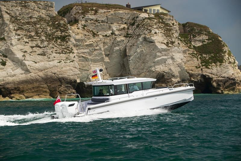 Axopar 37 with Cox Powertrain engines attached