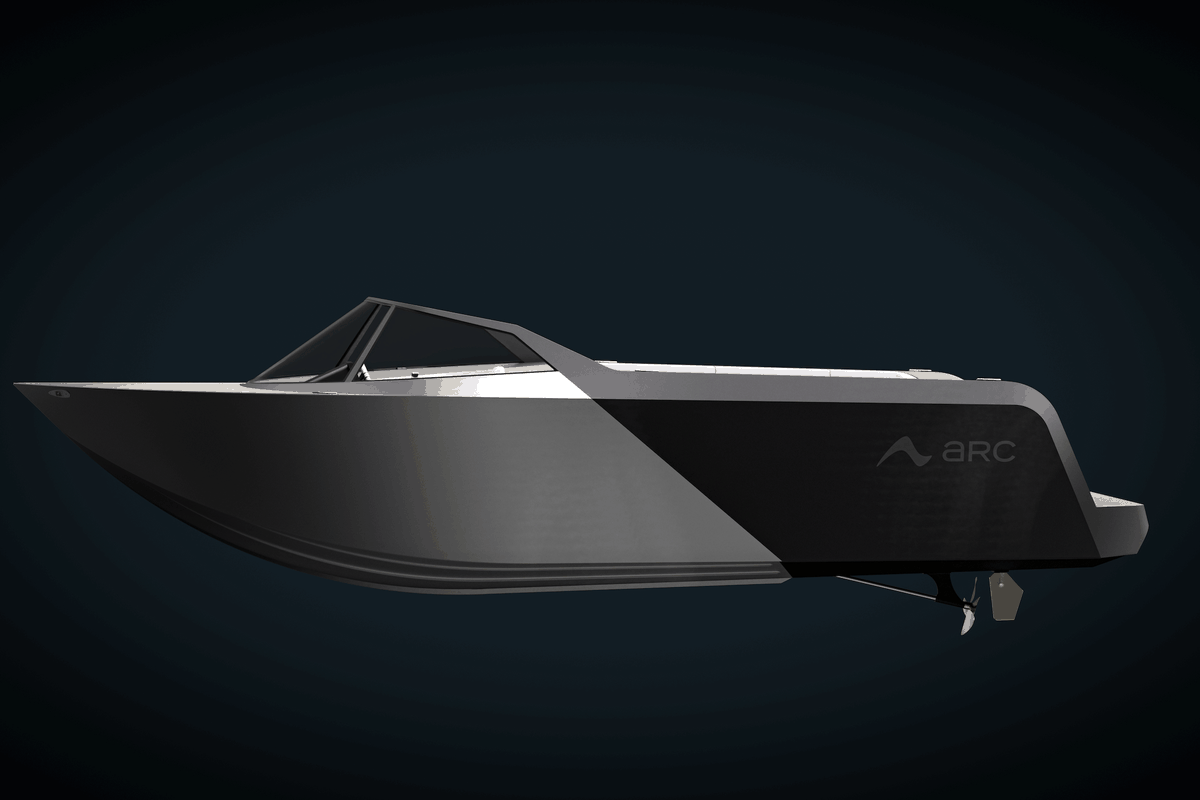 promotional shot for the arc boat side profile