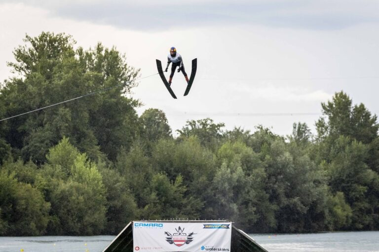 Waterskier jumping at WWS Open Austria