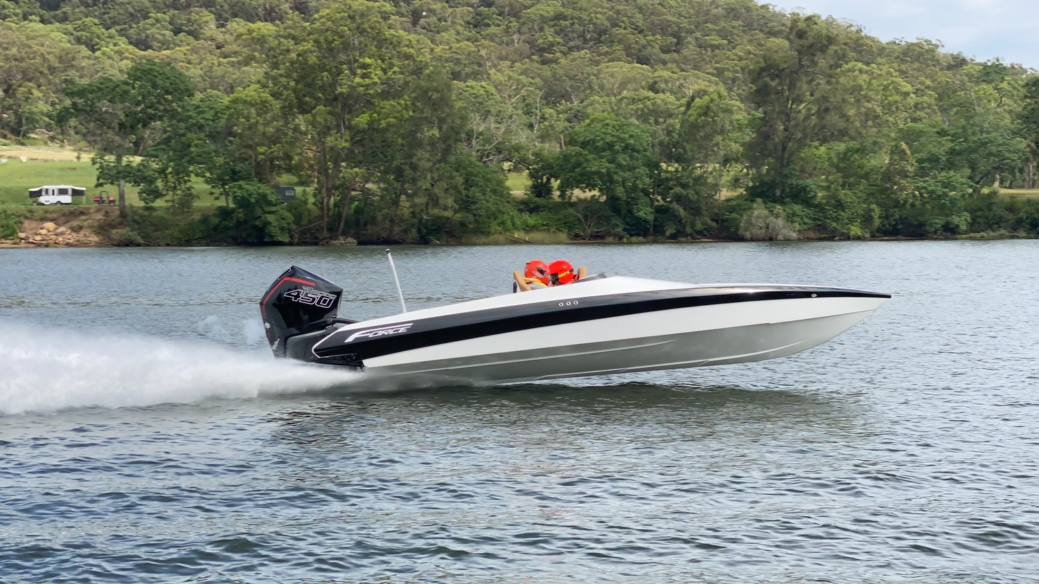 Force boat equipped with Mercury Marine outboard