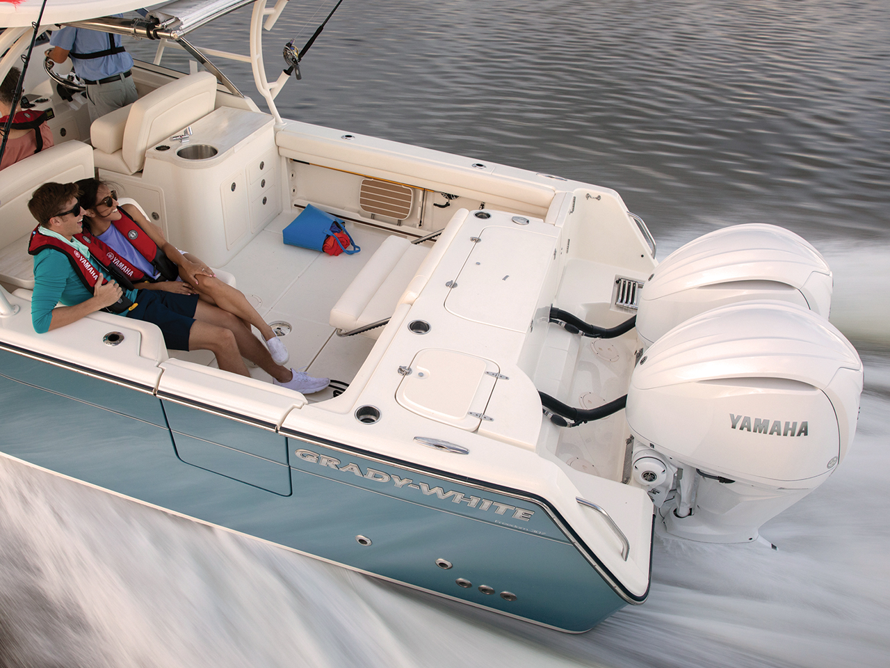 Yamaha V6 equipped to a boat in transit
