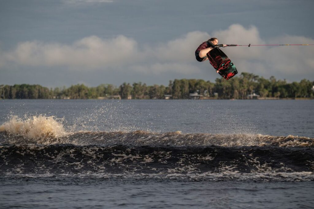 Kira Lewis wakeboarding (she's in the air)