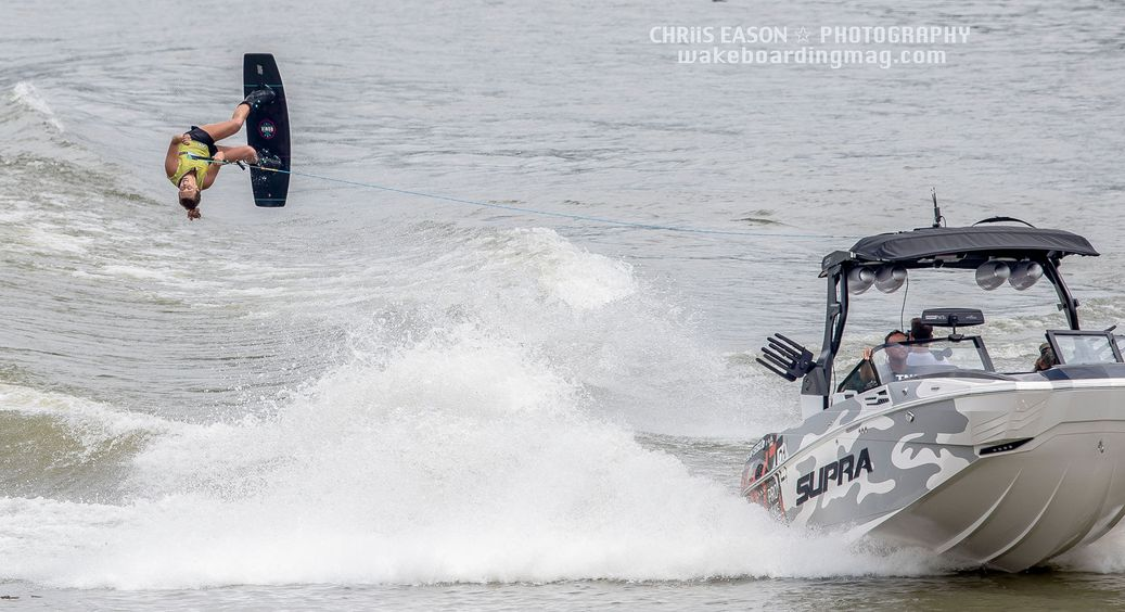 Jamie Lopina in the air on her wakeboard.
