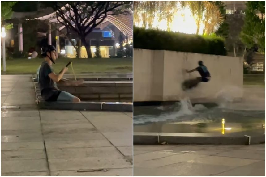 A man is wakeboarding across a water feature.