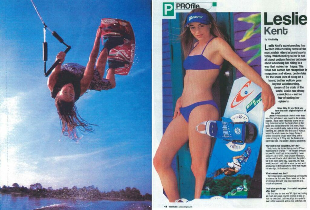 Magazine cuttings of Leslie wakeboarding mid-air and another photo of her posing next to a wakeboard.