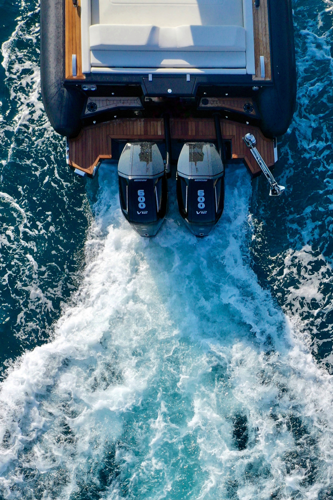 Technohull Omega 47 engines from above