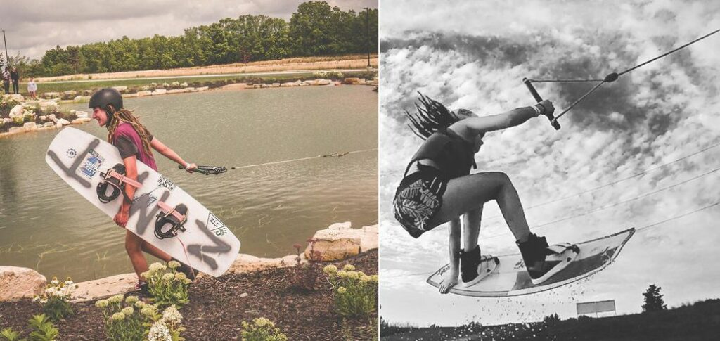 Two photos: one of Hannah on land with her wakeboard. The second is a black and white photo from below, of her getting some air-time on the wakeboard.