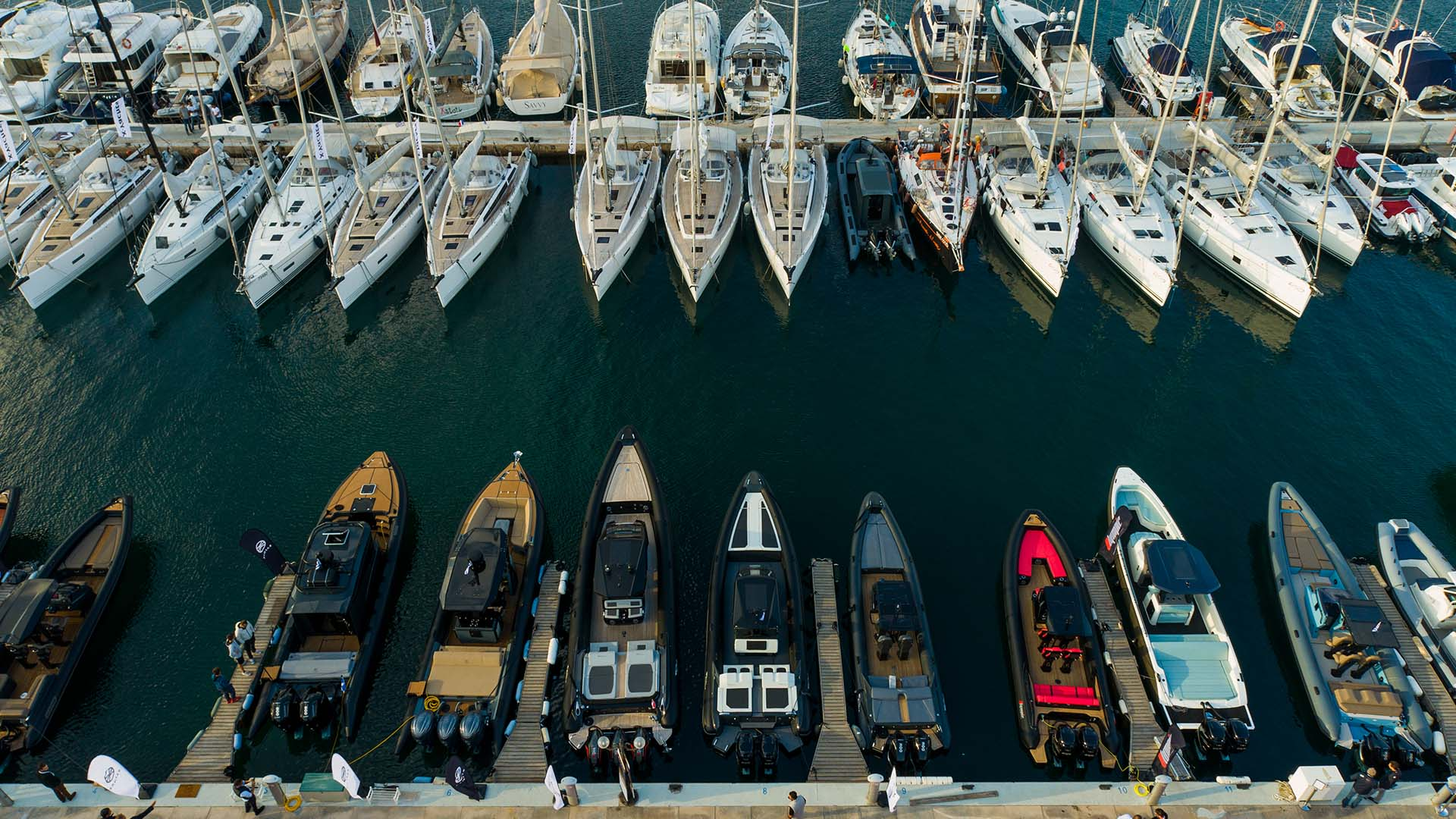 Aerial shot of powerboats at the Olympic Yacht Show